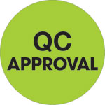 "1"" Circle - ""QC Approval"" Fluorescent Green Labels"