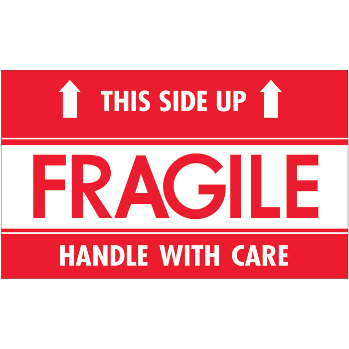 "3"" x 5"" - ""Fragile - This Side Up - HWC"" Labels ..."