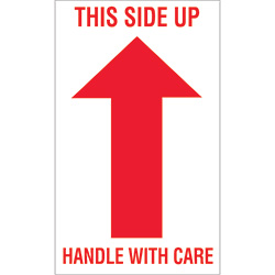 "3"" x 5"" - ""This Side Up - Handle With Care"" Labels"