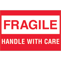 "2"" x 3"" - ""Fragile - Handle With Care"""