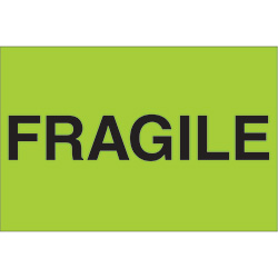 "2"" x 3"" - ""Fragile"" (Fluorescent Green) Labels"