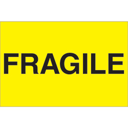 "2"" x 3"" - ""Fragile"" (Fluorescent Yellow) Labels"
