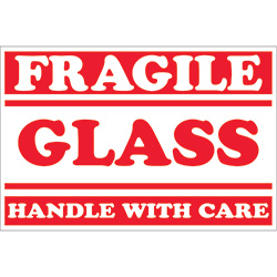 "2"" x 3"" - ""Fragile - Glass - Handle With Care"" Labels"