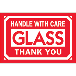 "2"" x 3"" - ""Glass - Handle With Care - Thank You"" Labels"