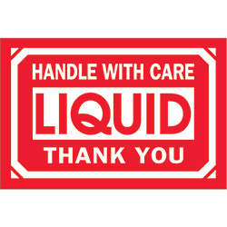 "2"" x 3"" - ""Handle With Care - Liquid - Thank You"" Labels"