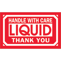 "3"" x 5"" - ""Handle With Care - Liquid - Thank You"" Labels"