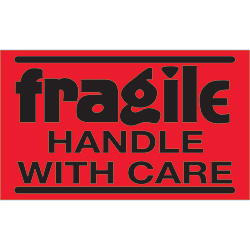 "3"" x 5"" - ""Fragile - Handle With Care"" (Fluorescent Red) Labels"