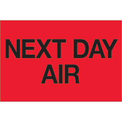"2"" x 3"" - ""Next Day Air"" (Fluorescent Red) Labels"