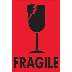 "2"" x 3"" - ""Fragile"" (Fluorescent Red) Labels"