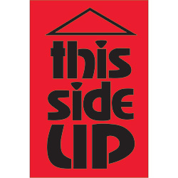 "2"" x 3"" - ""This Side Up"" (Fluorescent Red) Labels"