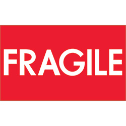 "3"" x 5"" - ""Fragile"" (High Gloss) Labels"