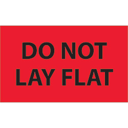 "3"" x 5"" - ""Do Not Lay Flat"" (Fluorescent Red) Labels"