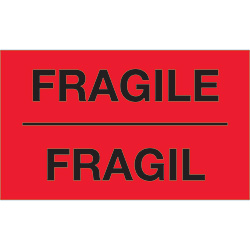 "3"" x 5"" - ""Fragil"" (Fluorescent Red) Bilingual Labels"