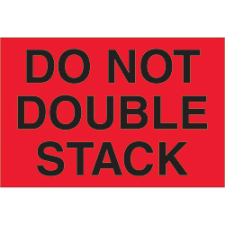 "2"" x 3"" - ""Do Not Double Stack"" (Fluorescent Red) Labels"