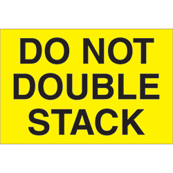 "2"" x 3"" - ""Do Not Double Stack"" (Fluorescent Yellow) Labels"