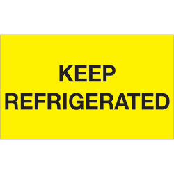 "3"" x 5"" - ""Keep Refrigerated"" (Fluorescent Yellow) Labels"