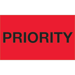 "3"" x 5"" - ""Priority"" (Fluorescent Red) Labels"