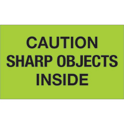 "3"" x 5"" - ""Caution Sharp Objects Inside"" (Fluorescent Green) Labels"