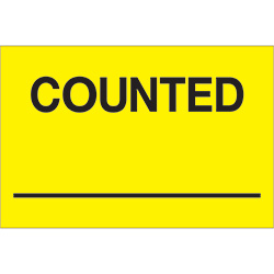 "2"" x 3"" - ""Counted ___"" (Fluorescent Yellow) Labels"