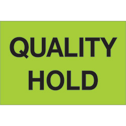"2"" x 3"" - ""Quality Hold"" (Fluorescent Green) Labels"