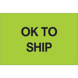 "2"" x 3"" - ""OK To Ship"" (Fluorescent Green) Labels"