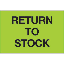 "2"" x 3"" - ""Return To Stock"" (Fluorescent Green) Labels"