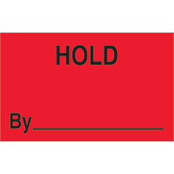 "1 1/4"" x 2"" - ""Hold By"" (Fluorescent Red) Labels"