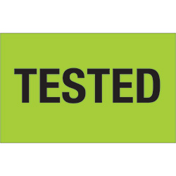 "1 1/4"" x 2"" - ""Tested"" (Fluorescent Green) Labels"