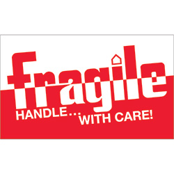 "3"" x 5"" - ""Fragile - Handle With Care"" Labels"
