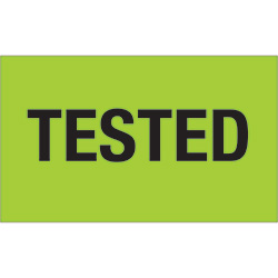 "3"" x 5"" - ""Tested"" (Fluorescent Green) Labels"