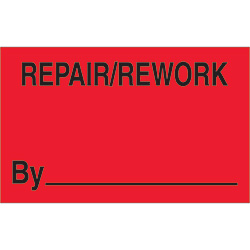 "1 1/4"" x 2"" - ""Repair/Rework By"" (Fluorescent Red) Labels"