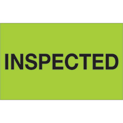 "1 1/4"" x 2"" - ""Inspected"" (Fluorescent Green) Labels"