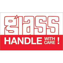 "3"" x 5"" - ""Glass - Handle With Care"" Labels"