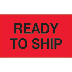 "3"" x 5"" - ""Ready To Ship"" (Fluorescent Red) Labels"