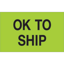 "1 1/4"" x 2"" - ""OK To Ship"" (Fluorescent Green) Labels"
