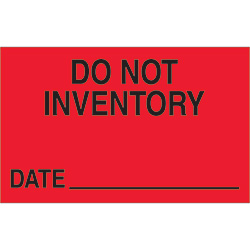 "1 1/4"" x 2"" - ""Do Not Inventory - Date"" (Fluorescent Red) Labels"