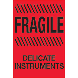 "4"" x 6"" - ""Fragile - Delicate Instruments"" (Fluorescent Red) Labels"