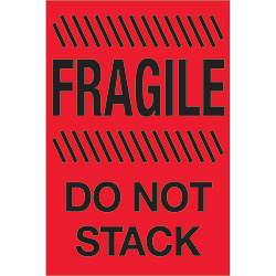 "4"" x 6"" - ""Fragile - Do Not Stack"" (Fluorescent Red) Labels"