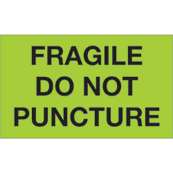 "3"" x 5"" - ""Fragile - Do Not Puncture"" (Fluorescent Green) Labels"