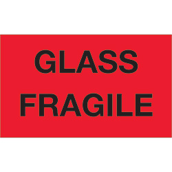 "3"" x 5"" - ""Glass - Fragile"" (Fluorescent Red) Labels"