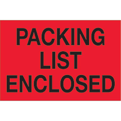 "2"" x 3"" - ""Packing List Enclosed"" (Fluorescent Red) Labels"