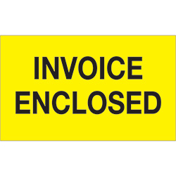 "3"" x 5"" - ""Invoice Enclosed"" (Fluorescent Yellow) Labels"