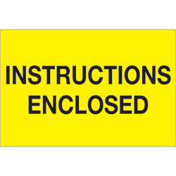 "2"" x 3"" - ""Instructions Enclosed"" (Fluorescent Yellow) Labels"
