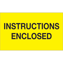 "3"" x 5"" - ""Instructions Enclosed"" (Fluorescent Yellow) Labels"