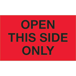 "3"" x 5"" - ""Open This Side Only"" (Fluorescent Red) Labels"
