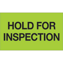 "3"" x 5"" - ""Hold For Inspection"" (Fluorescent Green) Labels"