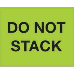 "8"" x 10"" - ""Do Not Stack"" (Fluorescent Green) Labels"