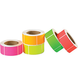 "3"" x 5"" Fluorescent Packs Inventory Rectangle Labels"