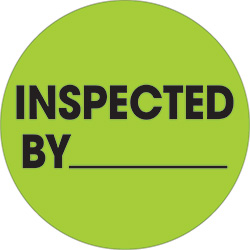 "2"" Circle - ""Inspected By"" Fluorescent Green Labels"