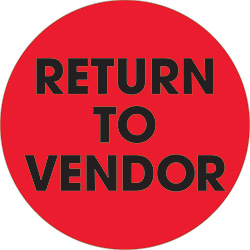 "2"" Circle - ""Return To Vendor"" Fluorescent Red Labels"